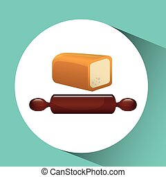 bakery food icon - loaf in plate, bakery food icon, vector...