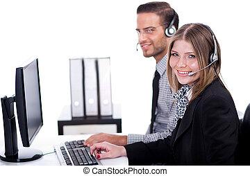 Smiling executive operators