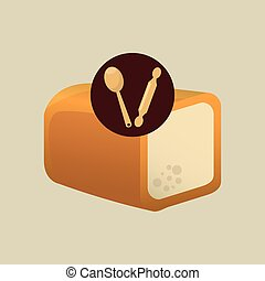 bakery food icon - loaf and bakery food tools icon, vector...