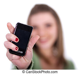 Female showing her cell phone