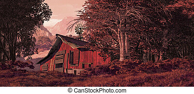 Horse Barn With Windmill