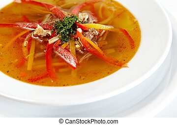Fresh chicken soup with vegetable
