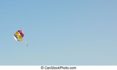 Paraplane or paraglider is getting dragged