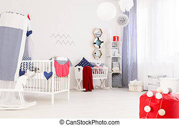Marine decor of a modern baby room - Very bright interior of...