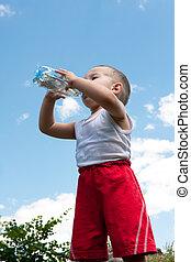 Drinking water little boy