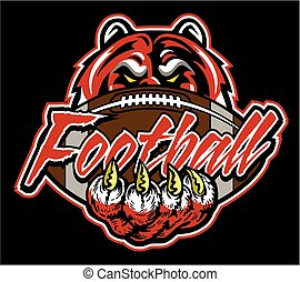tiger football team design with ball and paw print for...