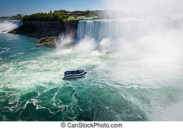boat with tourists in Niagara Falls
