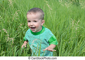 Playful little boy in the grass