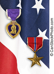 Army Medals on American Flag