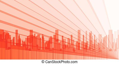 City Abstract Background - A grey cityscape shown in orange...