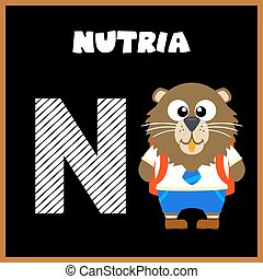 The English alphabet letter N, Nutria
