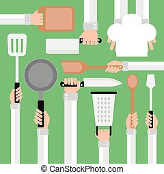Flat modern design concept,cooking tools