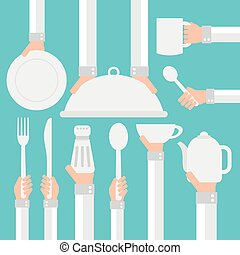 Flat modern design, cookware - Flat modern design...