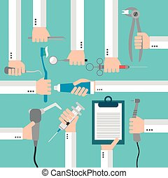 Dental flat set design concept with hands. Vector...