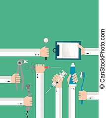 Modern Dental flat set design concept with hands. Vector...