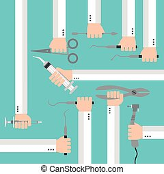 Flat dental instruments set design concept with hands Vector...