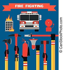 Fire fighting modern design concept flat illustration