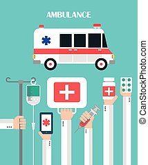 Medical Ambulance Flat background with hand .Vector...
