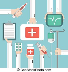 Medical Flat background with hand .Vector illustration