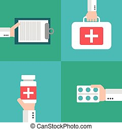Healthcare vector set, flat design style