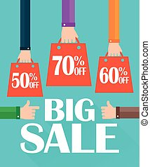 Flat modern design big sale, shopping bag