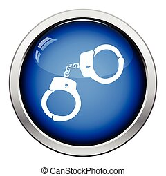 Police handcuff icon. Glossy button design. Vector...