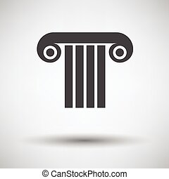 Antique column icon on gray background with round shadow....