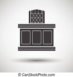 Judge table icon on gray background with round shadow Vector...