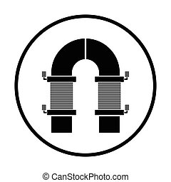 Electric magnet icon. Thin circle design. Vector...