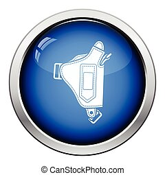 Police holster gun icon Glossy button design Vector...