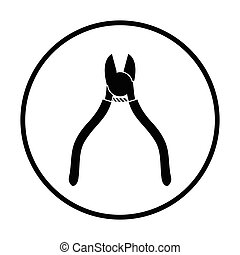 Side cutters icon. Thin circle design. Vector illustration.