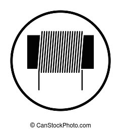 Inductor coil icon. Thin circle design. Vector illustration.