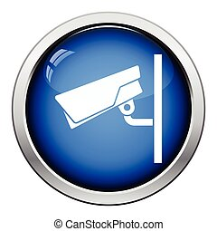 Security camera icon Glossy button design Vector...
