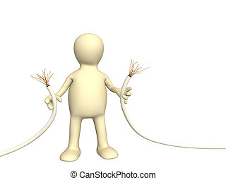 Puppet with disrupted wire. Isolated over white
