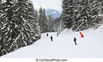 Skiing down the track