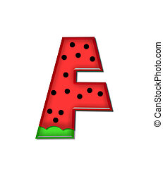 Alphabet Watermelon F - The letter F, in the alphabet set...