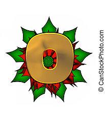 Alphabet Christmas Poinsettia O