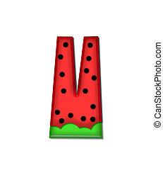Alphabet Watermelon V - The letter V, in the alphabet set...