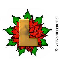 Alphabet Christmas Poinsettia L