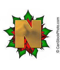 Alphabet Christmas Poinsettia N