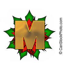 Alphabet Christmas Poinsettia M