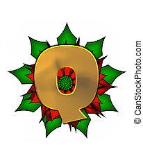 Alphabet Christmas Poinsettia Q