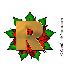 Alphabet Christmas Poinsettia R