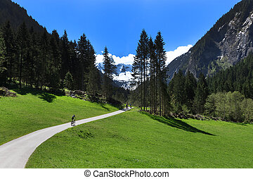 Way through mountain landscape in Stillup Valley Austria...