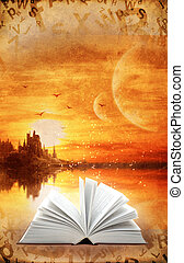 Magic book - Fantasy world. Vertical grunge background with...