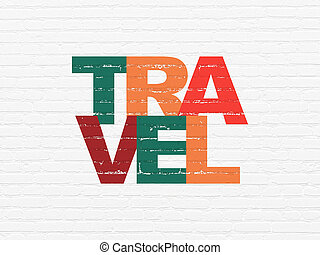Vacation concept: Travel on wall background - Vacation...