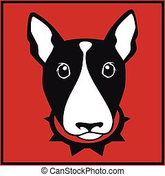 Vector bull terrier head - Cute vector bull terrier with dog...