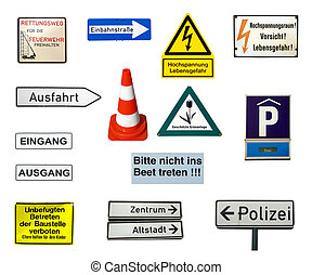 German signs - Collection of German signs isolated over...