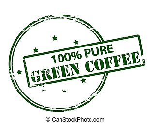 One hundred percent pure green coffee - Rubber stamp with...