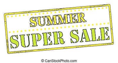 Summer super sale - Rubber stamp with text summer super sale...